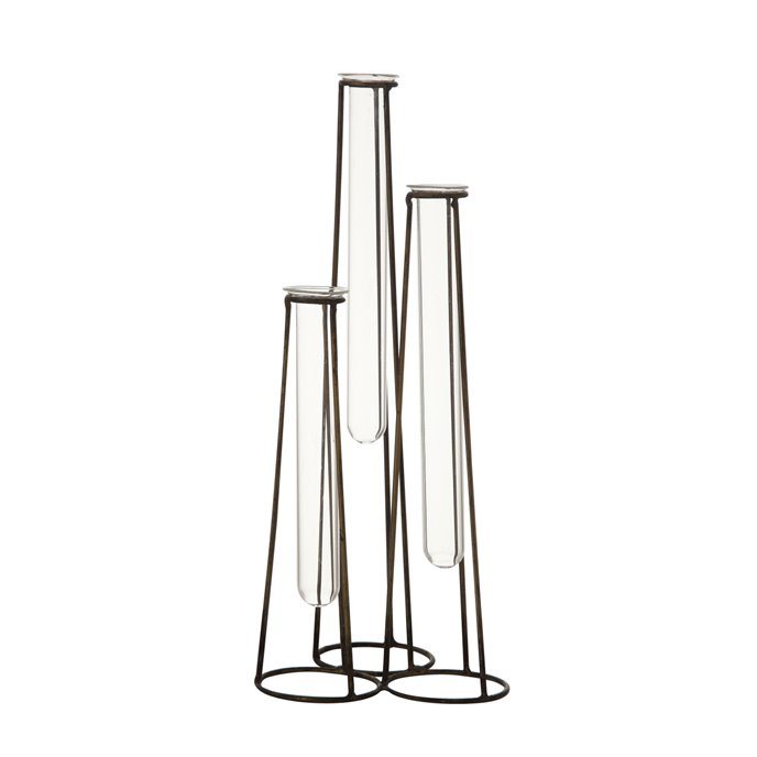 Three Test Tube Bud Vases in Metal Stand (Set of 4 Pieces) Thumbnail