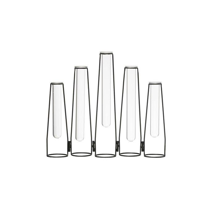 """5 Glass Test Tube Vases in 13"""" Long Foldable Black Metal Frame Thumbnail"""