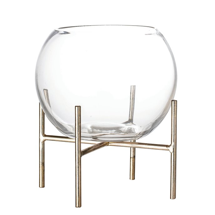 Clear Glass Ball Shaped Vase on Gold Metal Holder (Set of 2 Pieces) Thumbnail