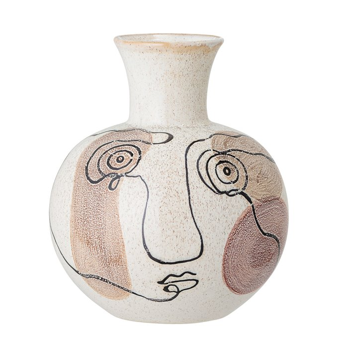 Multi Color Hand-Painted w/ Face Stoneware Vase Thumbnail