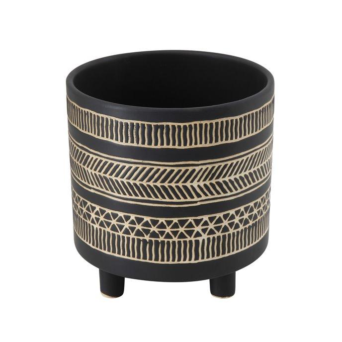 Round Stoneware Flower Pot with Black Pattern Thumbnail