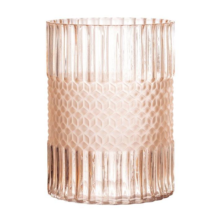 Elegant Matte Pink Embossed Glass Vase Thumbnail