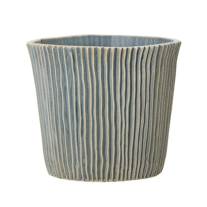 Large Fluted Blue Stoneware Flower Pot Thumbnail