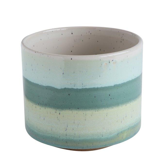 Green Striped Round Stoneware Flower Pot Thumbnail