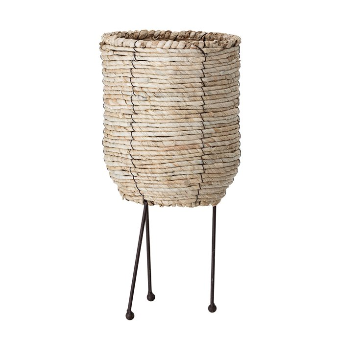 Large Beige Corn Rope Basket with Metal Legs Thumbnail