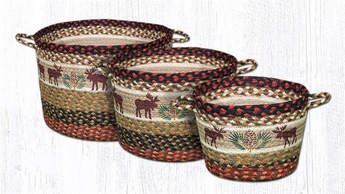 "Moose/Pinecone Printed Braided Utility Basket 9""x7"" Thumbnail"