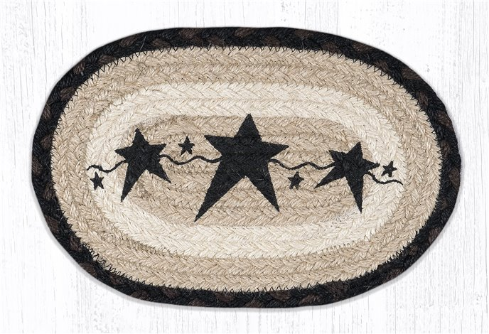 """Primitive Stars Black Printed Oval Braided Swatch 7.5""""x11"""" Thumbnail"""