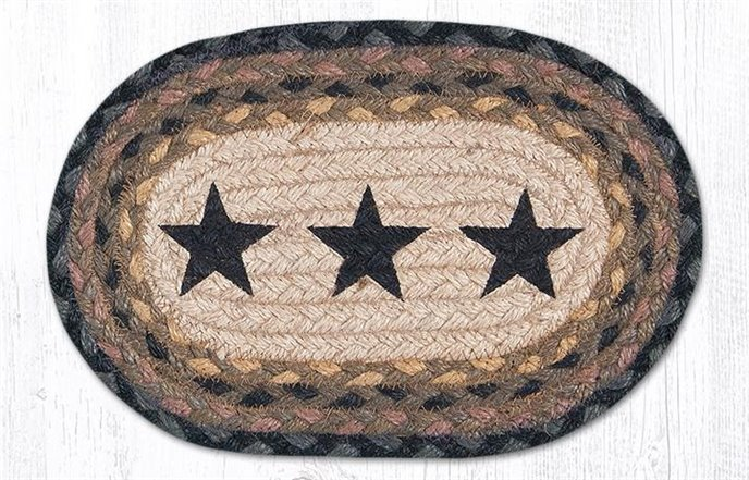 "Black Star Printed Oval Braided Swatch 7.5""x11"" Thumbnail"