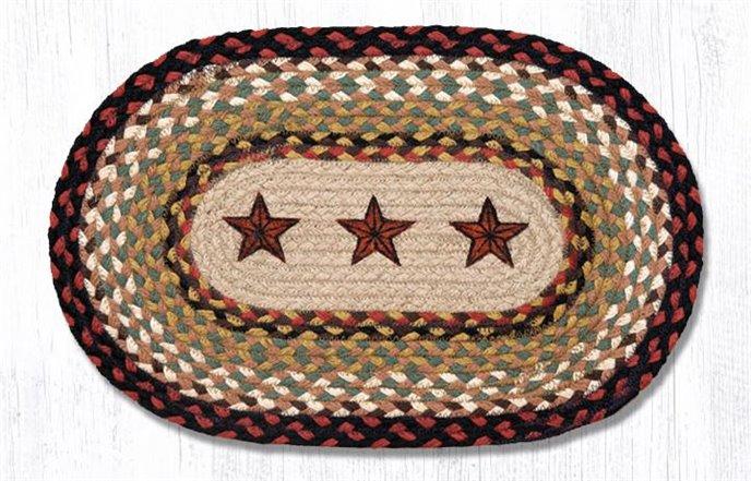 "Barn Stars Printed Oval Braided Swatch 10""x15"" Thumbnail"