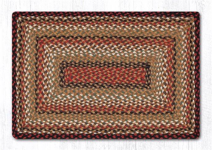Burgundy/Mustard/Ivory Rectangular Braided Rug 4'x6' Thumbnail