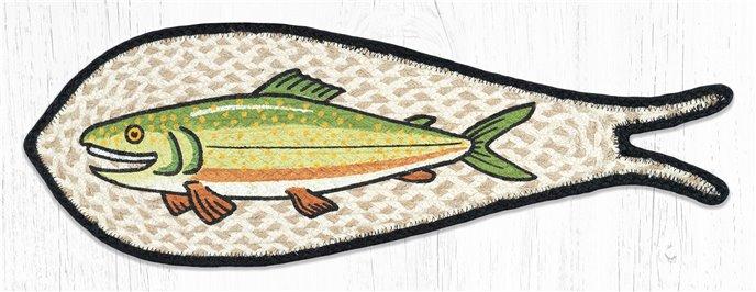 "Trout Printed Braided Fish Shaped Rug 9""x26"" Thumbnail"