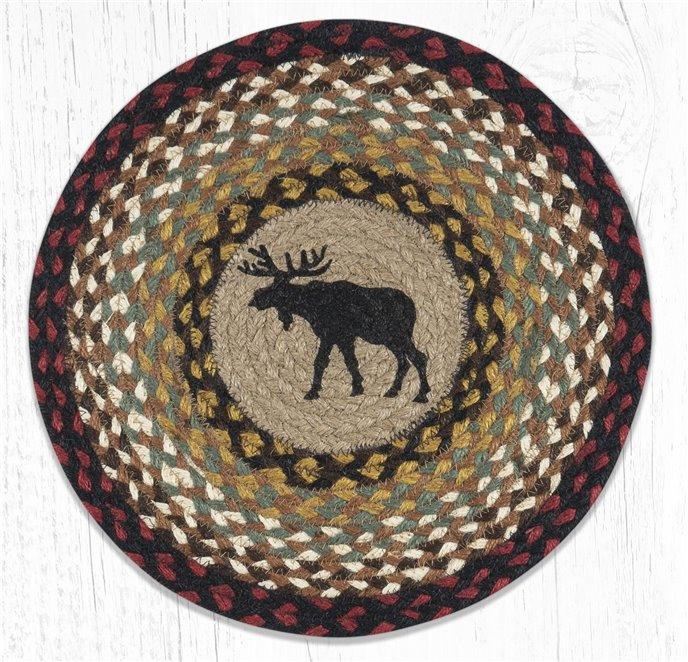 "Black Moose Printed Round Braided Placemat 15""x15"" Thumbnail"