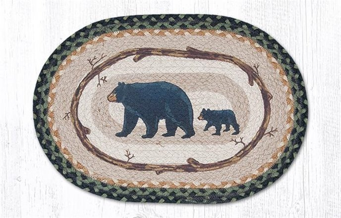 """Mama & Baby Bear Oval Braided Placemat 13""""x19"""" Thumbnail"""