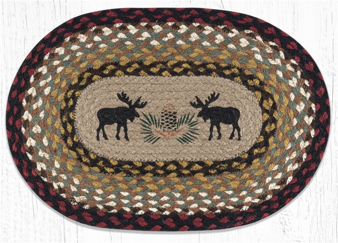 """Black Moose Oval Braided Placemat 13""""x19"""" Thumbnail"""