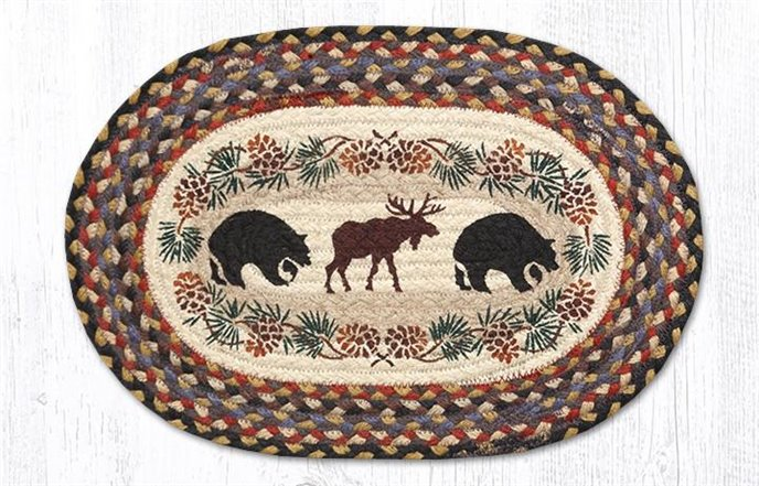 """Bear/Moose Oval Braided Placemat 13""""x19"""" Thumbnail"""
