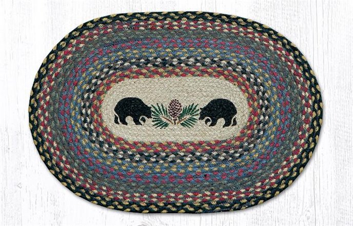 """Black Bears Oval Braided Placemat 13""""x19"""" Thumbnail"""