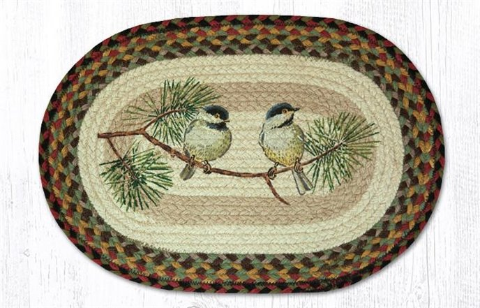 """Chickadee Oval Braided Placemat 13""""x19"""" Thumbnail"""
