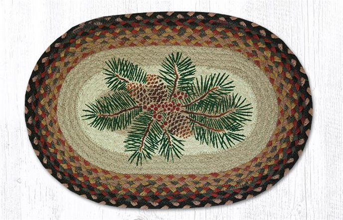 """Pinecone Red Berry Oval Braided Placemat 13""""x19"""" Thumbnail"""