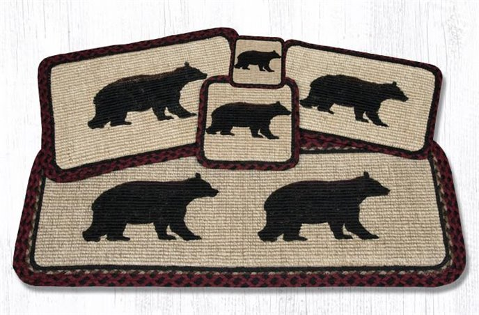 """Cabin Bear Wicker Weave Braided Placemat 13""""x19"""" Thumbnail"""