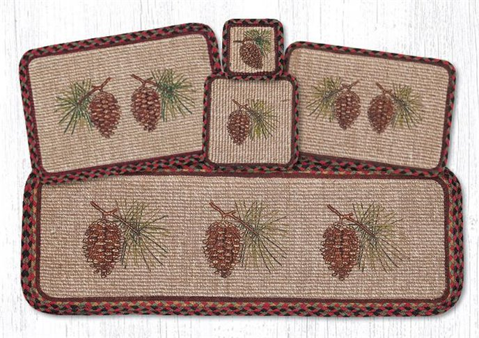 """Pinecone Wicker Weave Braided Placemat 13""""x19"""" Thumbnail"""