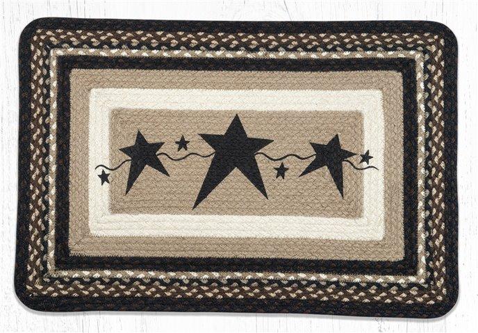 "Primitive Stars Black Rectangular Braided Rug 20""x30"" Thumbnail"