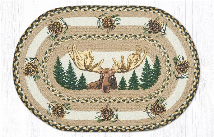 "Bull Moose Oval Braided Rug 20""x30"" Thumbnail"