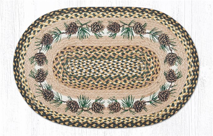 """Needles & Cones Oval Braided Rug 20""""x30"""" Thumbnail"""