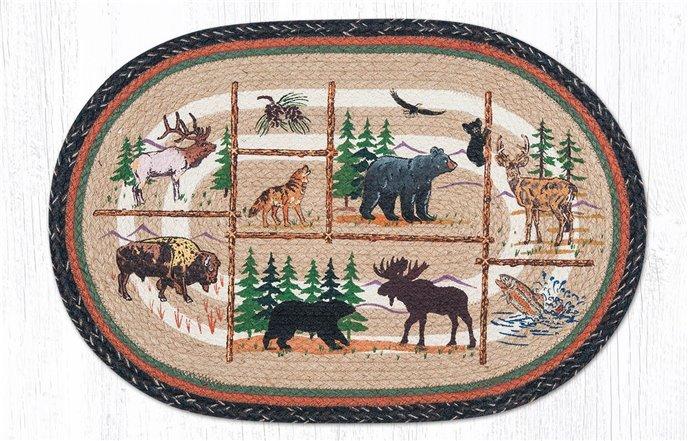 "Lodge Animals Oval Braided Rug 20""x30"" Thumbnail"