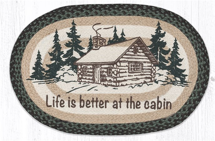 """Life Is Better At The Cabin Oval Braided Rug 20""""x30"""" Thumbnail"""