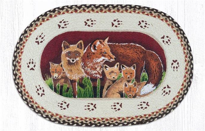 "Fox Family Oval Braided Rug 20""x30"" Thumbnail"