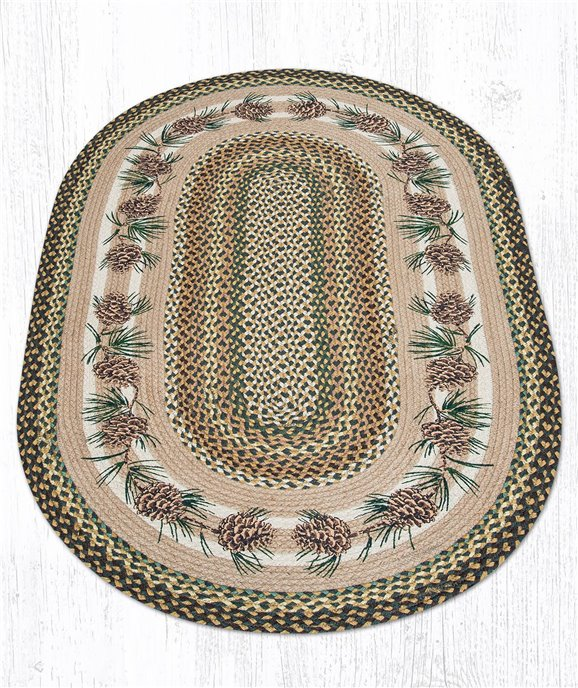 Needles & Cones Oval Braided Rug 3'x5' Thumbnail