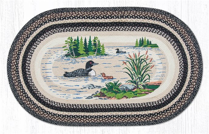Loons Oval Braided Rug 3'x5' Thumbnail