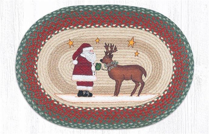 "Santa Reindeer Oval Braided Rug 20""x30"" Thumbnail"