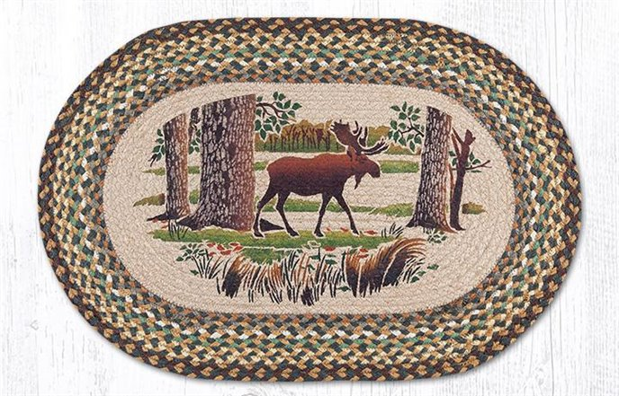 """Moose Forest Oval Braided Rug 20""""x30"""" Thumbnail"""