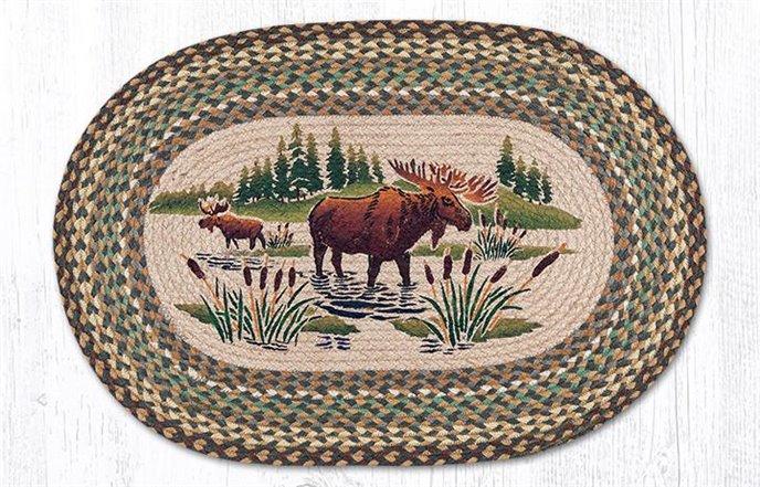 "Moose Wading Oval Braided Rug 20""x30"" Thumbnail"