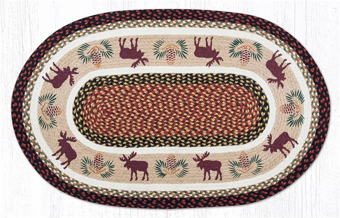 """Moose/Pinecone Oval Braided Rug 27""""x45"""" Thumbnail"""