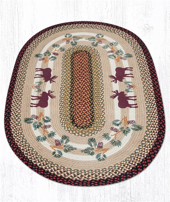Moose/Pinecone Oval Braided Rug 3'x5' Thumbnail