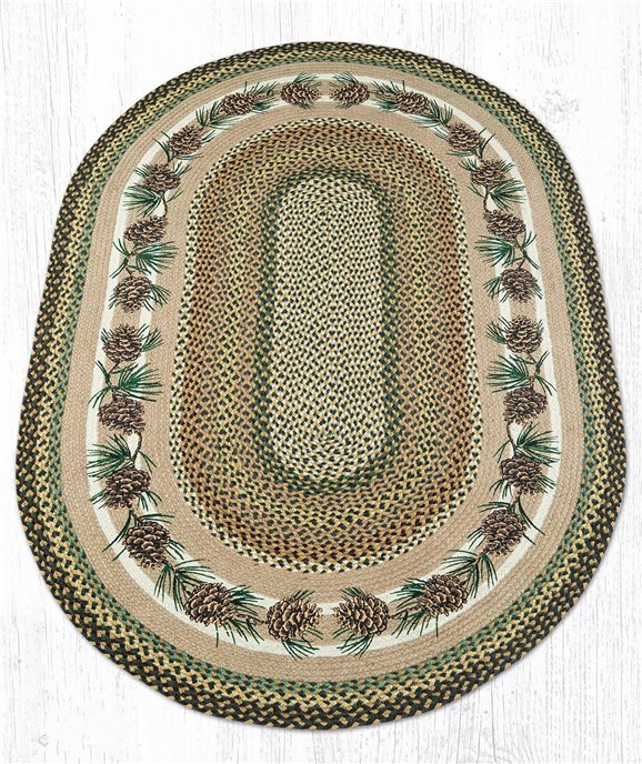 Needles & Cones Oval Braided Rug 4'x6' Thumbnail