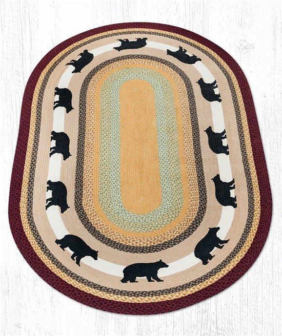 Cabin Bear Oval Braided Rug 5'x8' Thumbnail