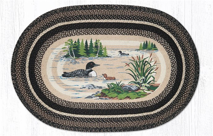 Loons Oval Braided Rug 4'x6' Thumbnail