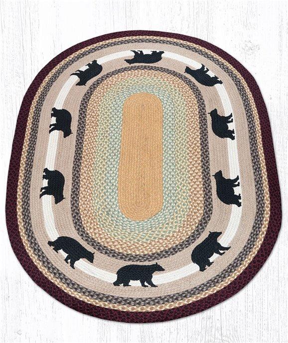 Cabin Bear Oval Braided Rug 4'x6' Thumbnail