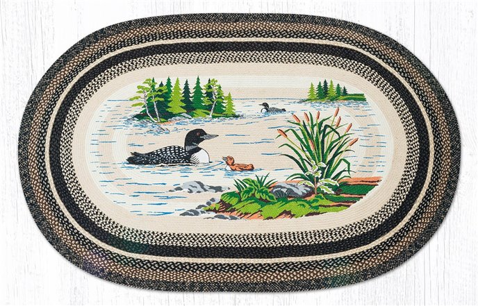 Loons Oval Braided Rug 5'x8' Thumbnail