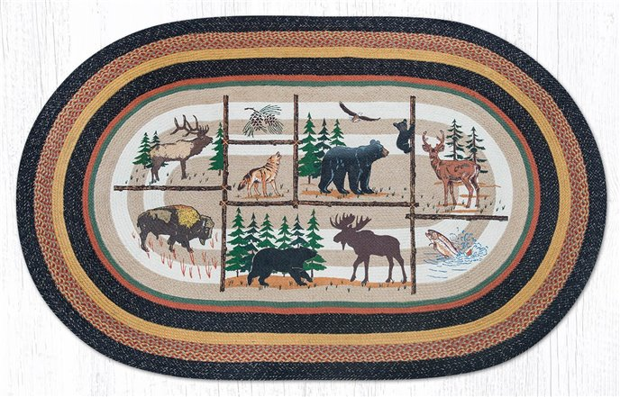 Lodge Animals Oval Braided Rug 5'x8' Thumbnail