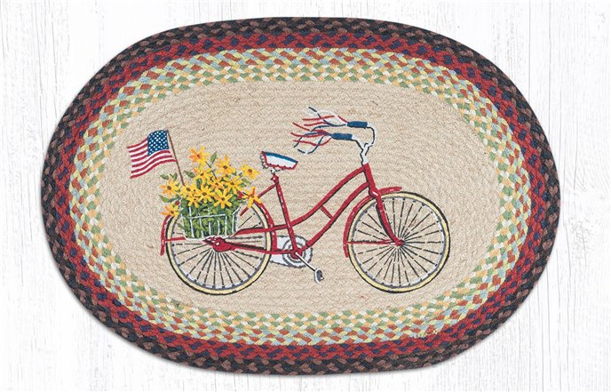 """Bicycle with Flag Oval Braided Rug 20""""x30"""" Thumbnail"""