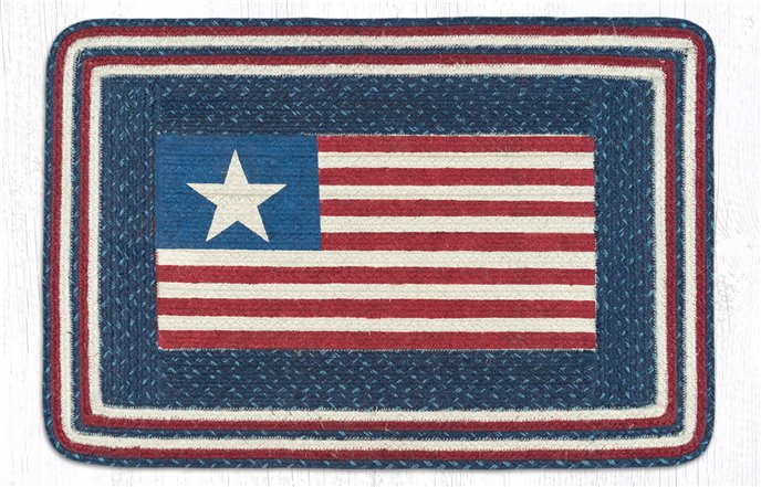 "American Flag Rectangular Braided Rug 20""x30"" Thumbnail"