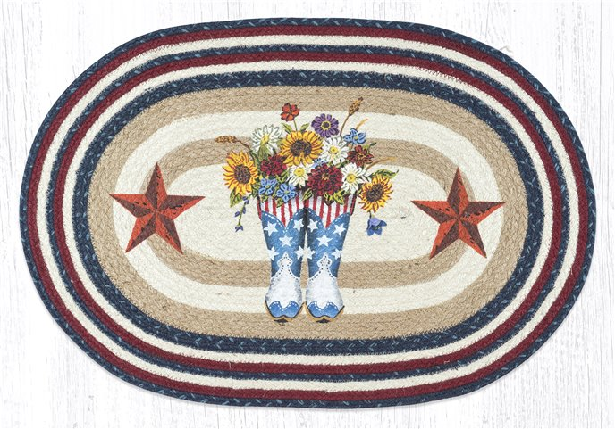 """American Boots with Barn Stars Oval Braided Rug 20""""x30"""" Thumbnail"""