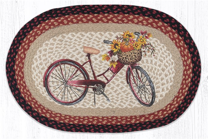 """Red Bicycle Oval Braided Rug 20""""x30"""" Thumbnail"""