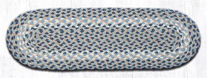 """Blue/Natural Oval Braided Stair Tread 27""""x8.25"""" Thumbnail"""