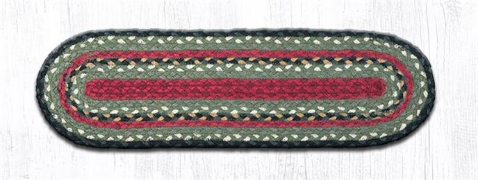 """Burgundy/Olive/Charcoal Oval Braided Stair Tread 27""""x8.25"""" Thumbnail"""