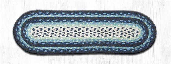 "Blueberry/Cream Oval Braided Stair Tread 27""x8.25"" Thumbnail"